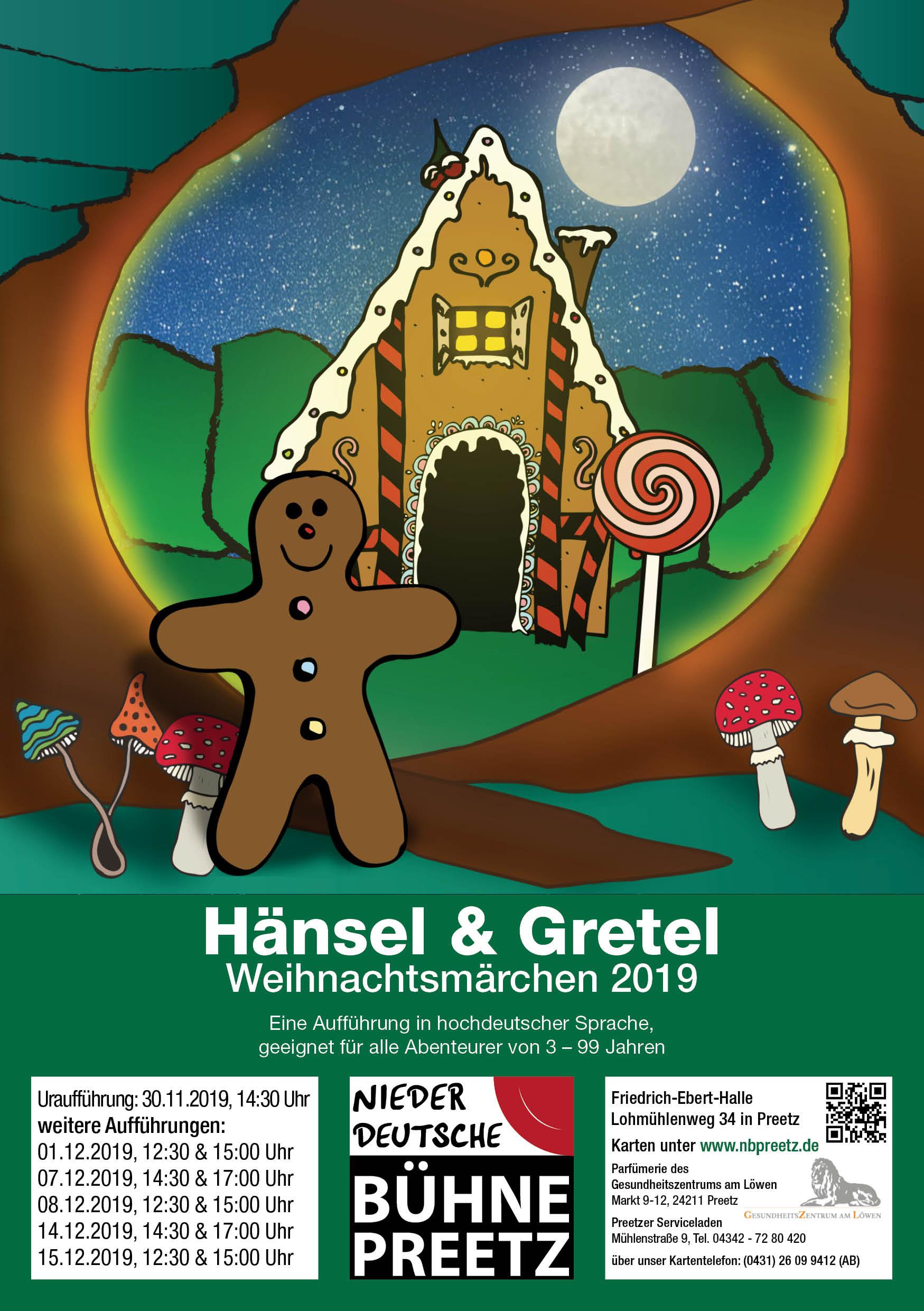 Flyer Weihnachtsmärchen 2019 Niederdeutsche Bühne bei Kiel